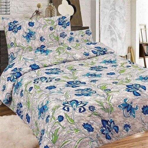 kék virágos szürke szín krepp ágyneműhuzat