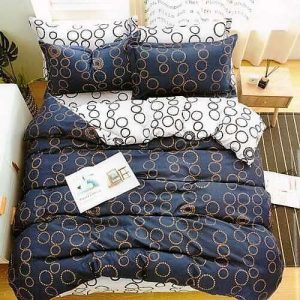 kék színben arany karikák pamut ágyneműhuzat