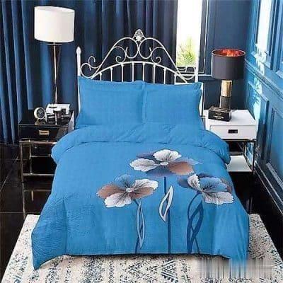 kék színben kockás virágos pamut ágyneműhuzat