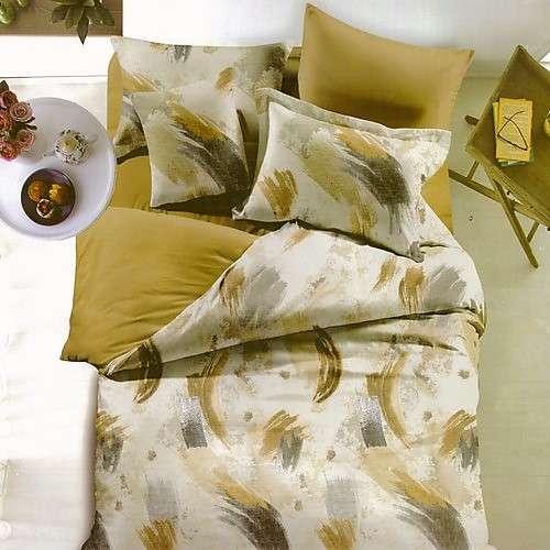 keki és krém színben pamut ágyneműhuzat