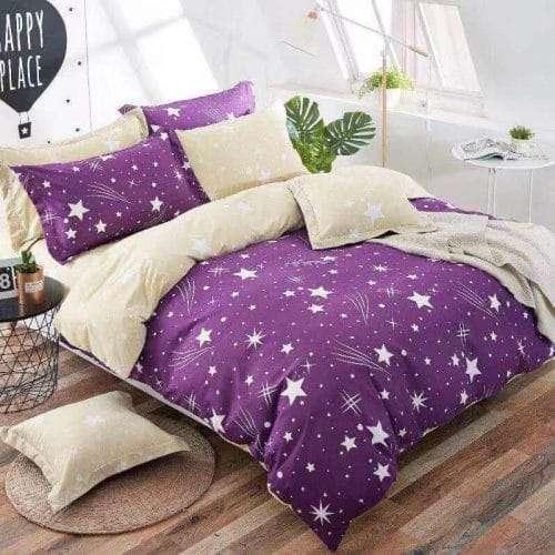 krém és lila színben csillagok ágyneműhuzat