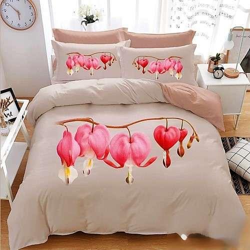 krém színben rózsaszín virágok pamut ágynemű