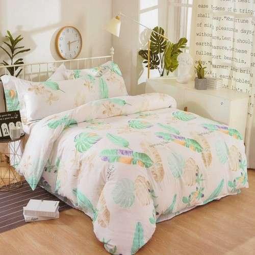 krepp ágyneműhuzat zöld levelekkel és virágokkal