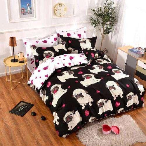 kutyus mintás pamut ágyneműhuzat fekete színben