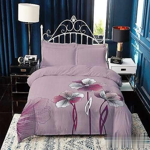 mályva színben virágok mintás pamut ágyneműhuzat