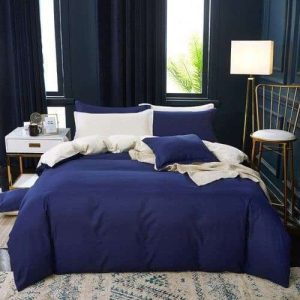 mély kék és krém színű pamut ágynemű