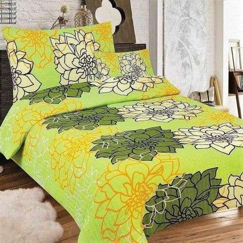 neon zöld színben virágok krepp ágyneműhuzat