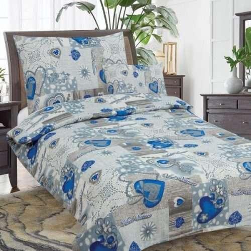 pamut 7 részes ágynemű kék szív minta