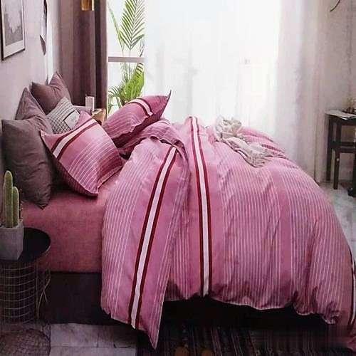 pink színben piros csíkos ágyneműhuzat
