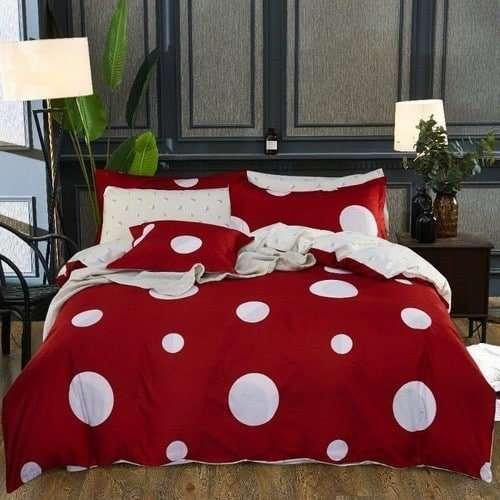 piros fehér nagy pöttyös pamut ágyneműhuzat