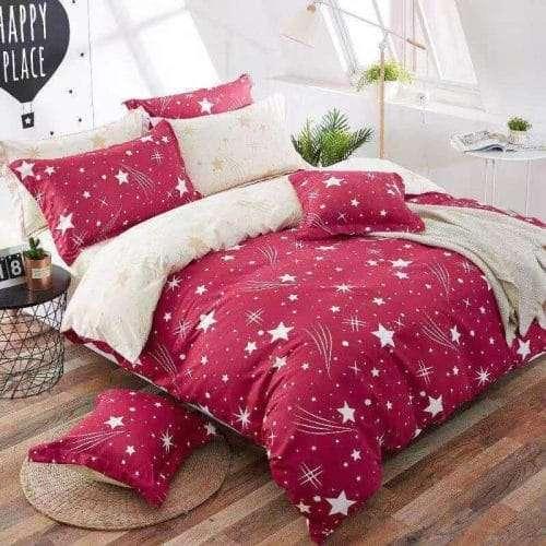 piros krém színben csillagok pamut ágyneműhuzat