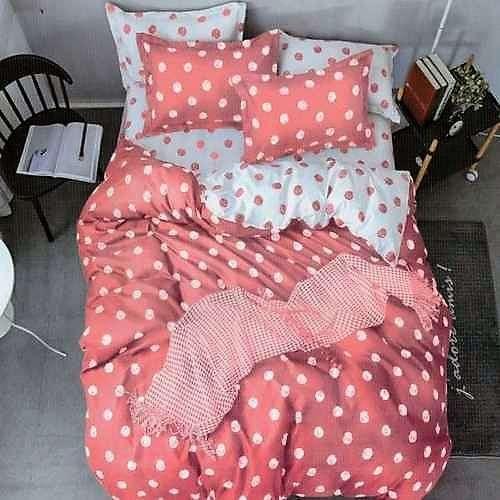 rózsaszín és fehér pöttyös pamut ágyneműhuzat