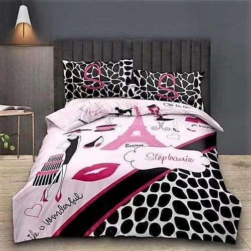 rózsaszín párizs és csók mintás ágyneműhuzat