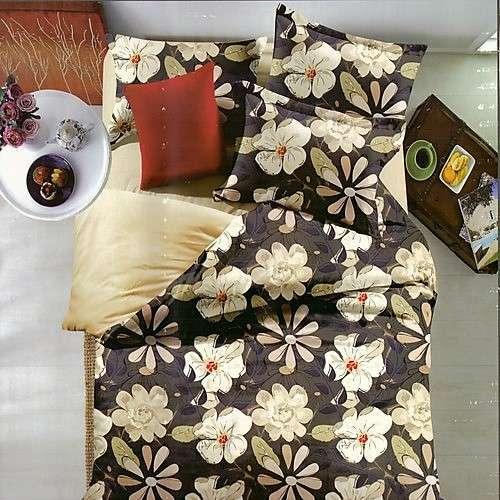 sötét színben fehér virágos pamut ágyneműhuzat