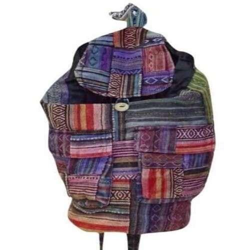 színes csíkos hátizsák nepálból 100% pamutból