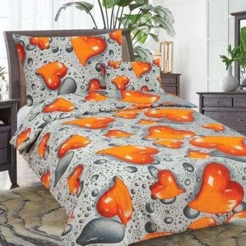 szürke alapon narancs szivecske pamut ágyneműhuzat