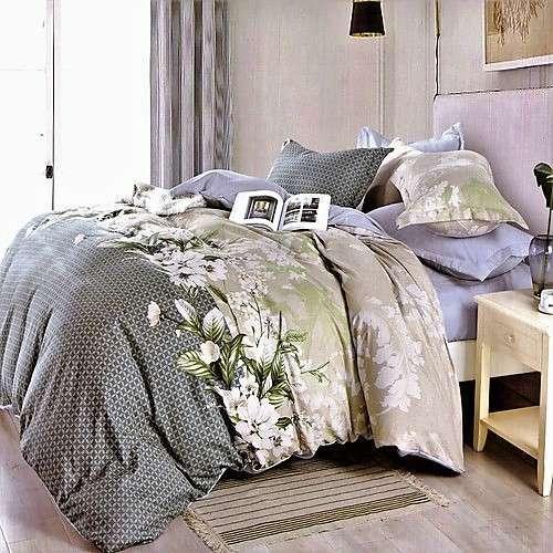 szürke bézs színben virágok pamut ágyneműhuzat