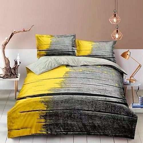 szürke deszkák sárga festékkel pamut ágyneműhuzat