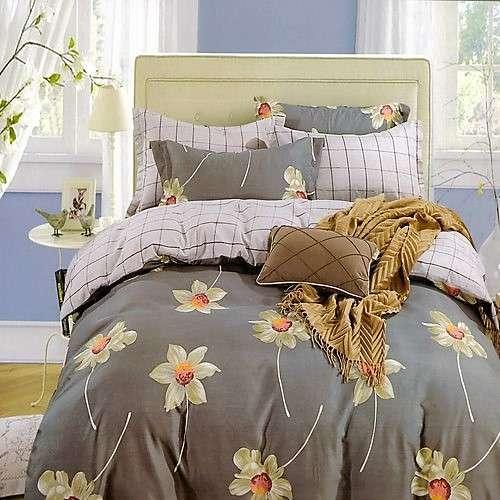szürke kockás virágos pamut ágyneműhuzat