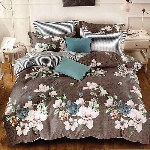 szürke szín hangulatos virág minta ágyneműhuzat