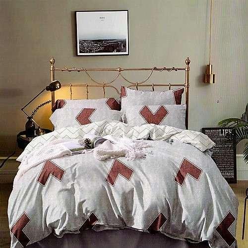 szürke színben barna mintás pamut ágyneműhuzat