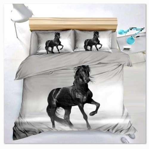 szürke színben fekete ló minta ágyneműhuzat