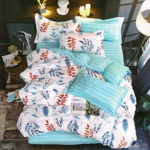 türkiz színben virág mintás pamut ágyneműhuzat