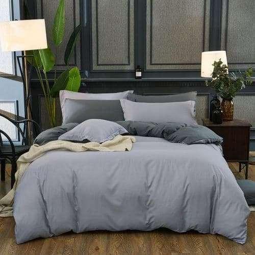 világos és sötét szürke pamut ágyneműhuzat