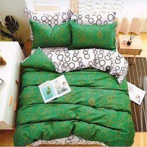 zöld színben arany karikák pamut ágyneműhuzat