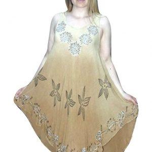 bézs színben rövid nyári ruha indiából