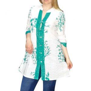 Tunika Fehér Zöld Színben Nőknek