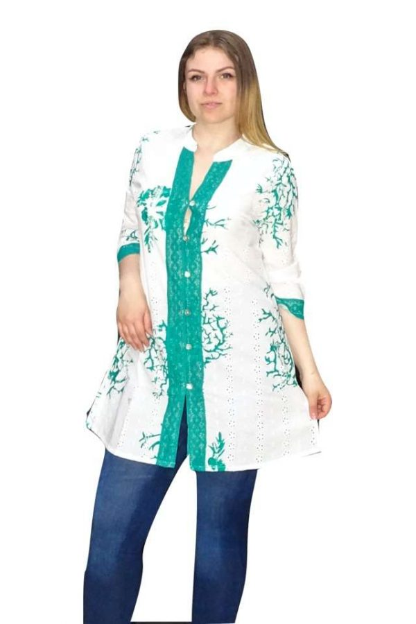 fehér zöld pamut nyári ing indiából