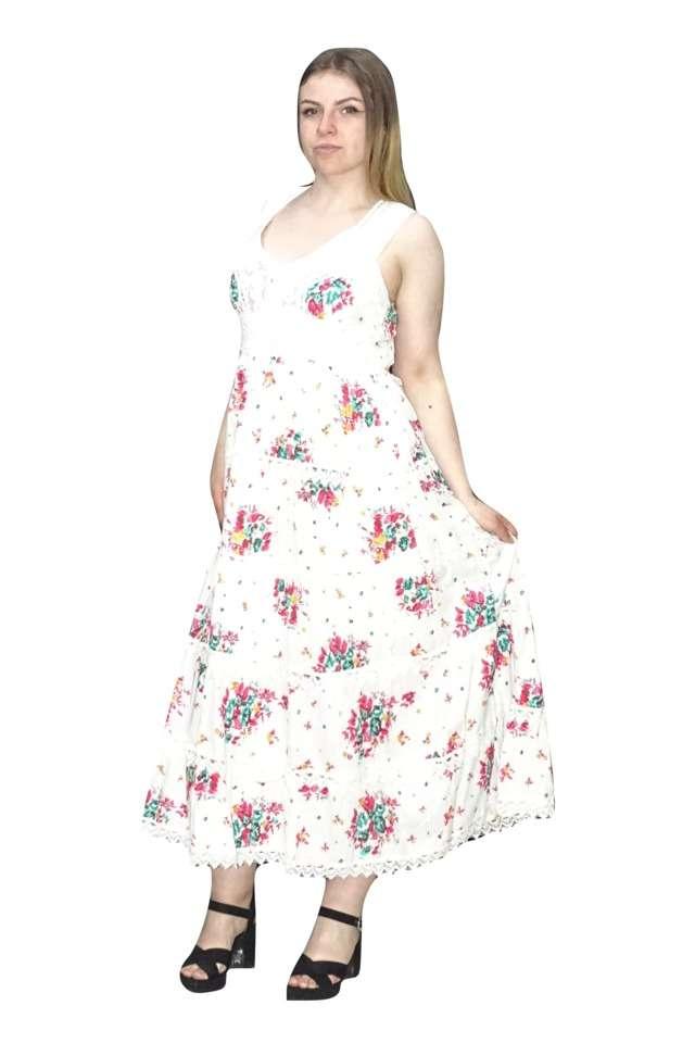 hosszú nyári ruha pamutból pink virágokkal