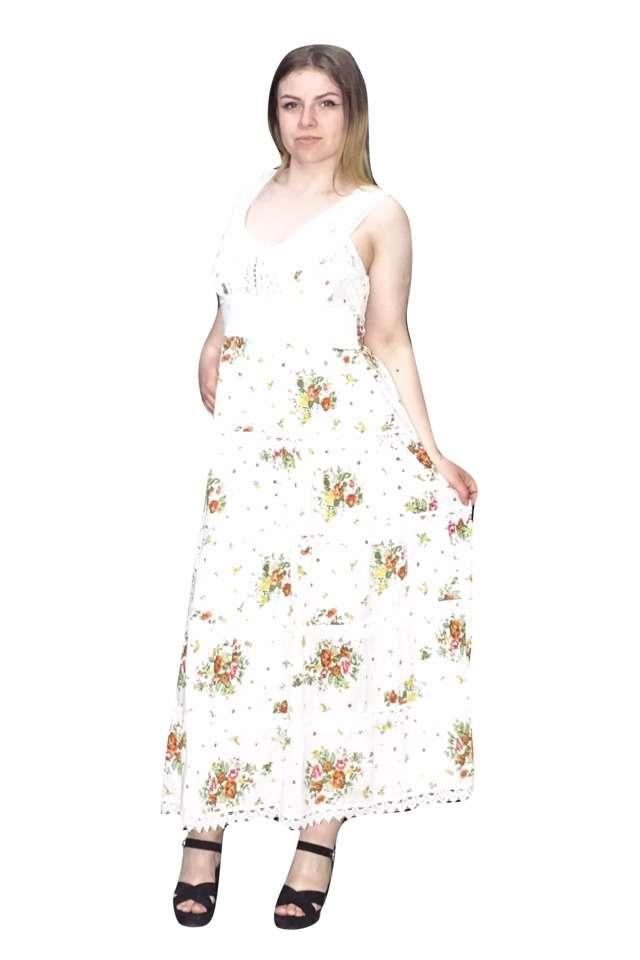 hosszú pántos nyári ruha zöld virágokkal