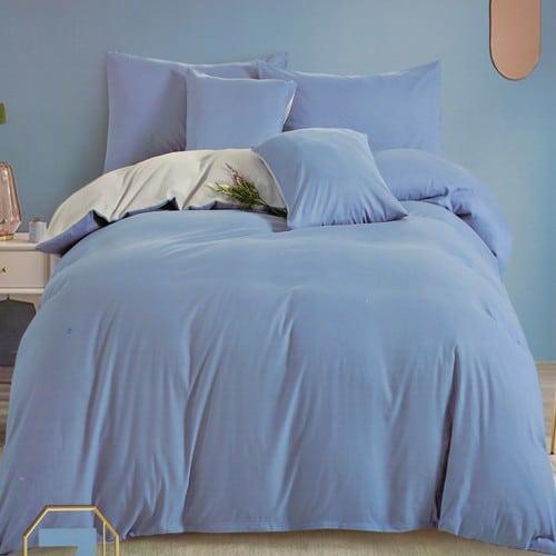 kék és halvány szürke színű pamut ágyneműhuzat