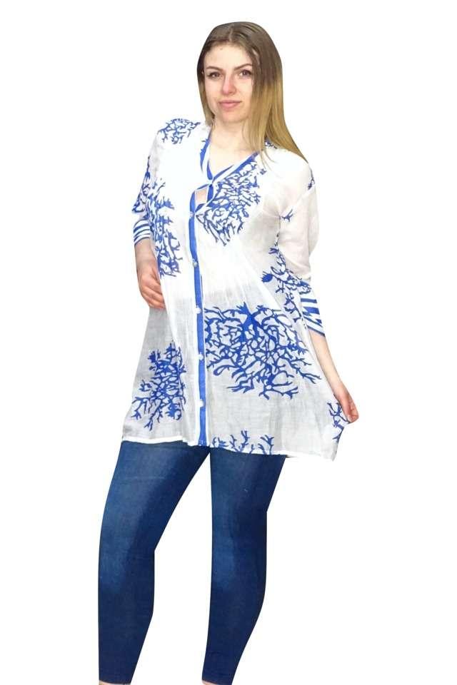 kék fehér színben vékony pamut ing
