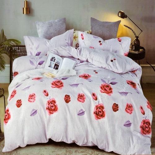 krepp ágyneműhuzat levendula színben piros rózsák