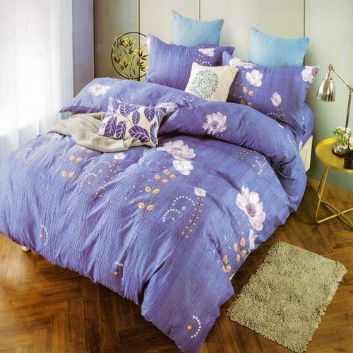 krepp ágyneműhuzat kék színben színes virágok