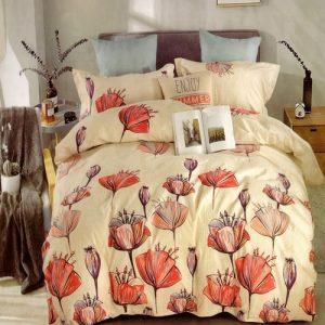 krepp ágyneműhuzat krém színben pipacs virágokkal
