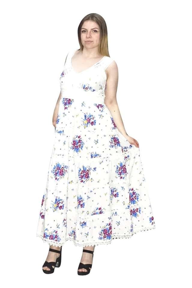 nyári hosszú ruha pamutból kék virágokkal