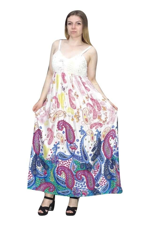 nyári maxi ruha indiából színes mintával
