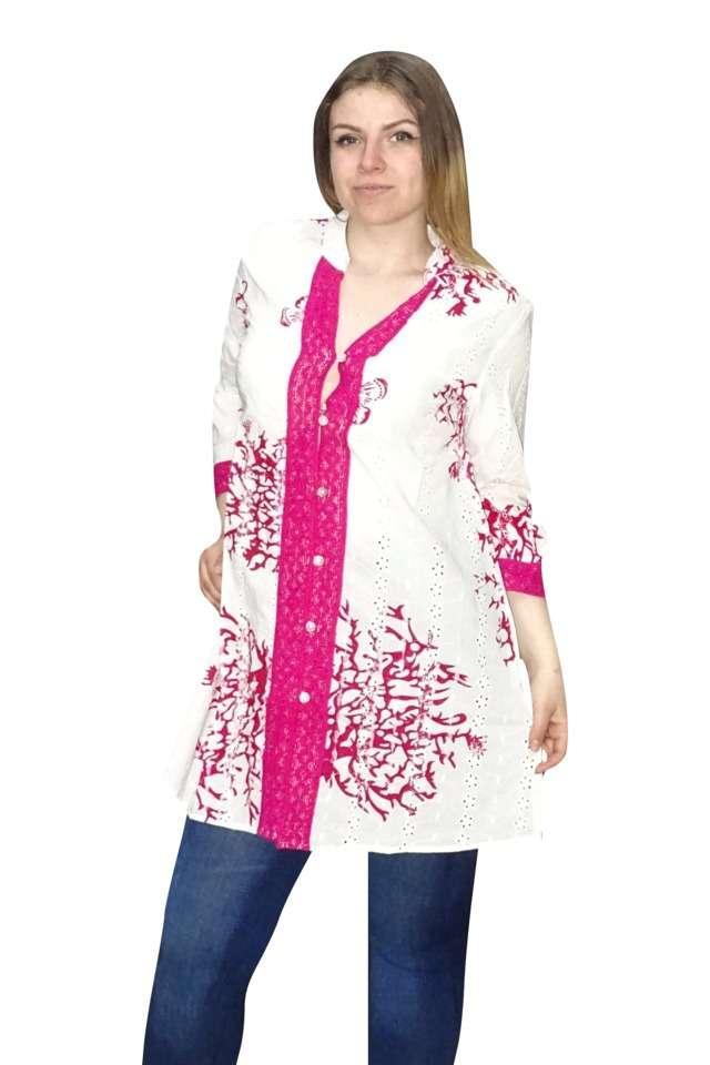 nyári pamut ing pink fehér színben
