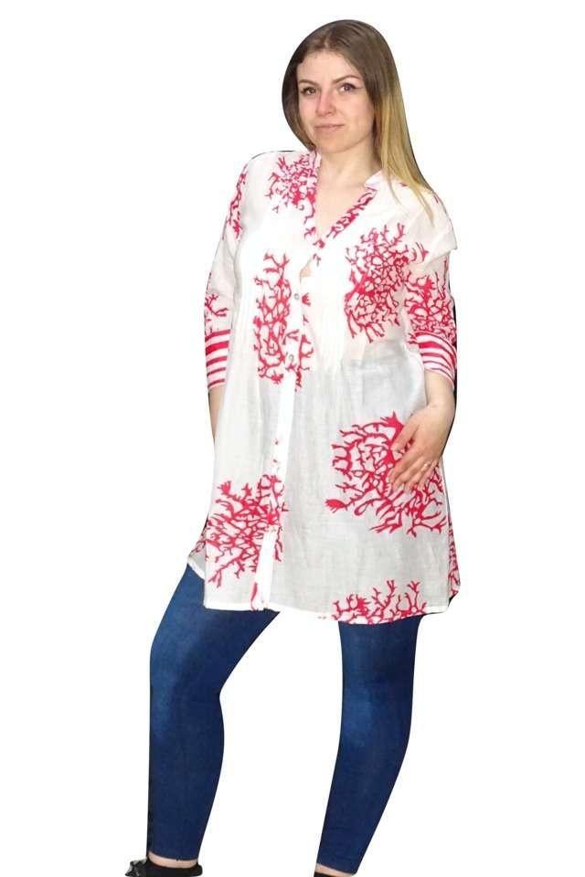 nyári vékony pamut ing pink fehér