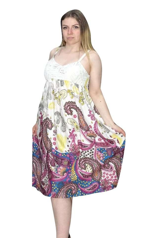 pántos rövid nyári ruha pink színben