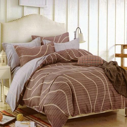 pamut ágyneműhuzat barna színben hullámos minta