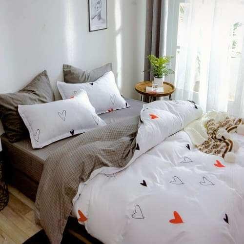 pamut ágyneműhuzat fehér drapp alapon szivecskék