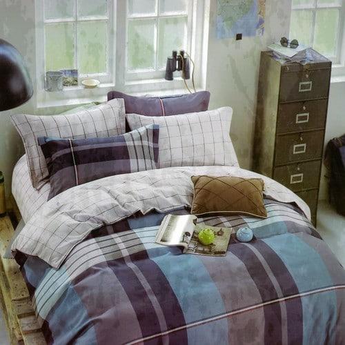 pamut ágyneműhuzat kék és szürke kockás