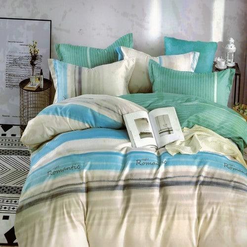 pamut ágyneműhuzat krém és kék csíkos