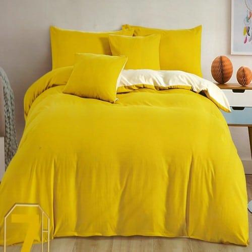 pamut ágyneműhuzat mustár és krém színben