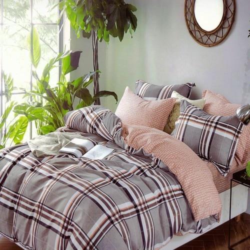 pamut ágyneműhuzat szürke krém kockás mintával